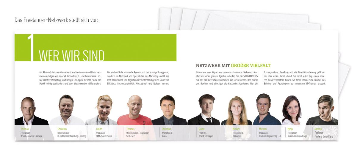 Broschüre der Freelancer-Werbeagentur WEBSTARTERS